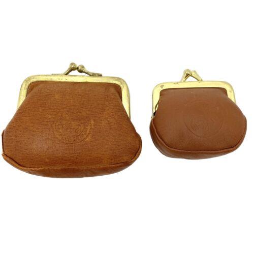Handmade Gold /& Orange Leather Kiss Lock Coin Purse