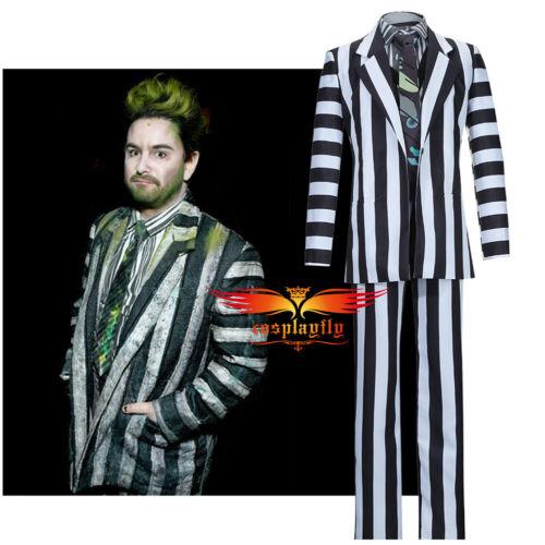 Men/'s Horror Halloween Costume Causal Blazer Beetlejuice Adam Vintage Cosplay