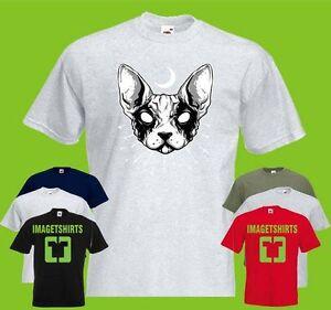 Gato-metalica-negra-para-hombre-Printed-T-shirt-Arte-Animal