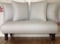Long Footstool Stool & 4 Cushions Laura Ashley Elmore Silver Fabric