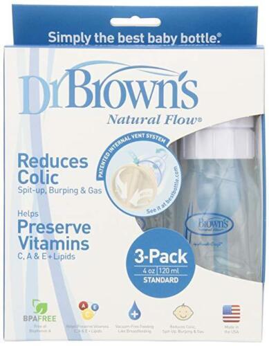 3 Bottles 4 oz Brown/'s BPA Free Natural Flow Standard Neck Bottle Dr