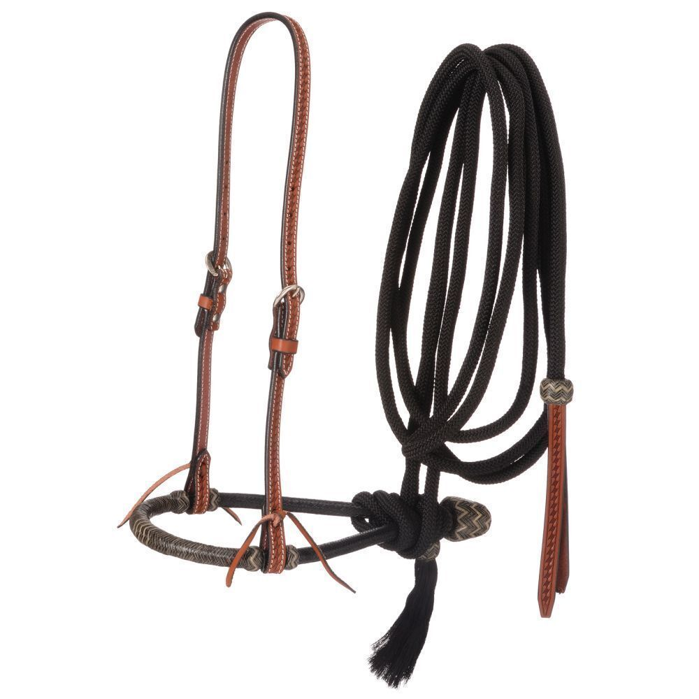 Western Natural Leather Headstall with Bosal and Mecate Reins   online sale