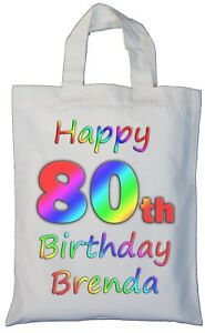 Image Is Loading PERSONALISED 80th BIRTHDAY COTTON GIFT BAG Present