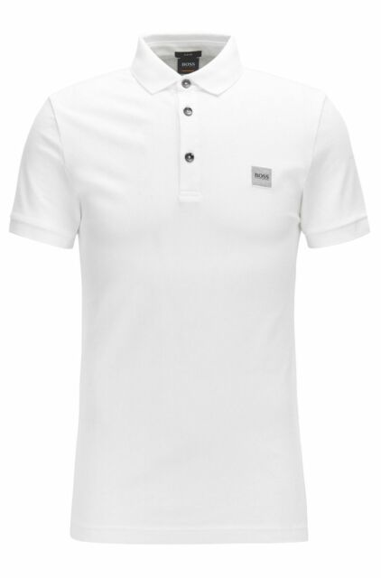 6a73ab0ad Hugo Boss Mens Casual Passenger Logo Branded Slim-Fit Cotton Polo T-Shirt  White