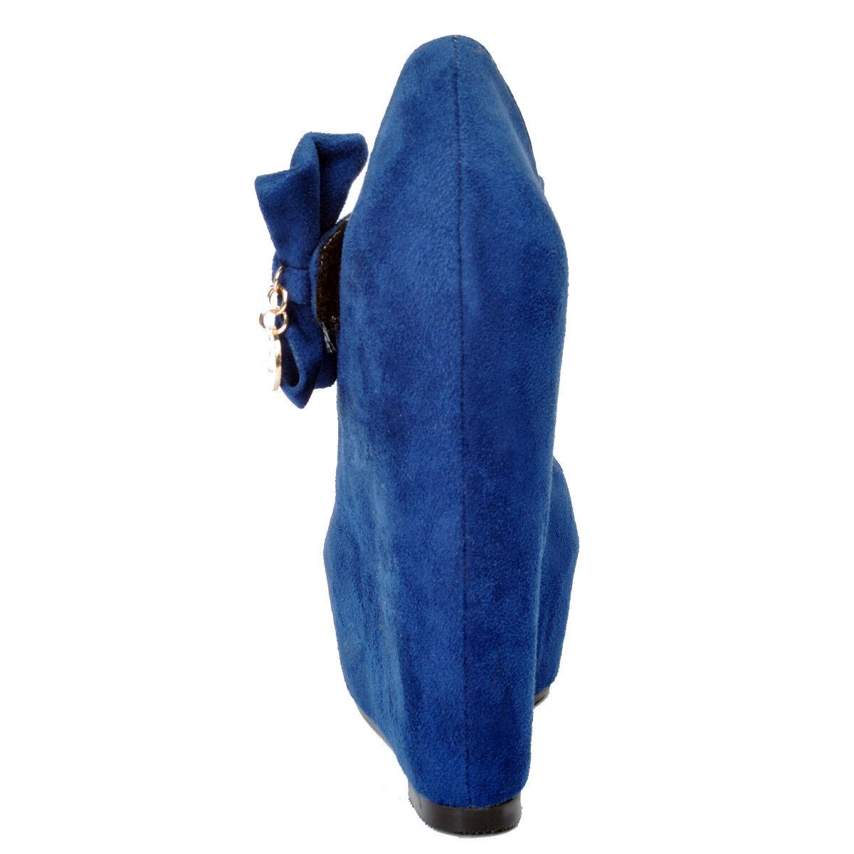 NEW Women Women Women Pumps Platform Wedges Heels Faux Suede Pumps bluee shoes Plus Size 15 9f1817