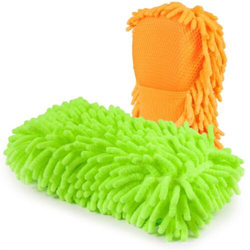 2x cosey Mikrofaser Chenille Reinigungs-Schwamm mit Handschlaufe grün und orange