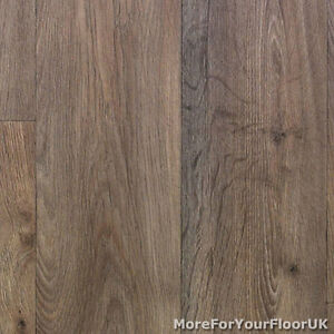 Thick vinyl flooring warm brown realistic wood plank for Cheap wood effect lino