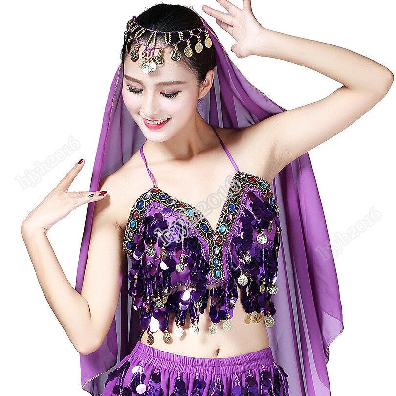 1pc Women/'s Beading Sequin Bra Belly Dance Boho Festival Clubbing