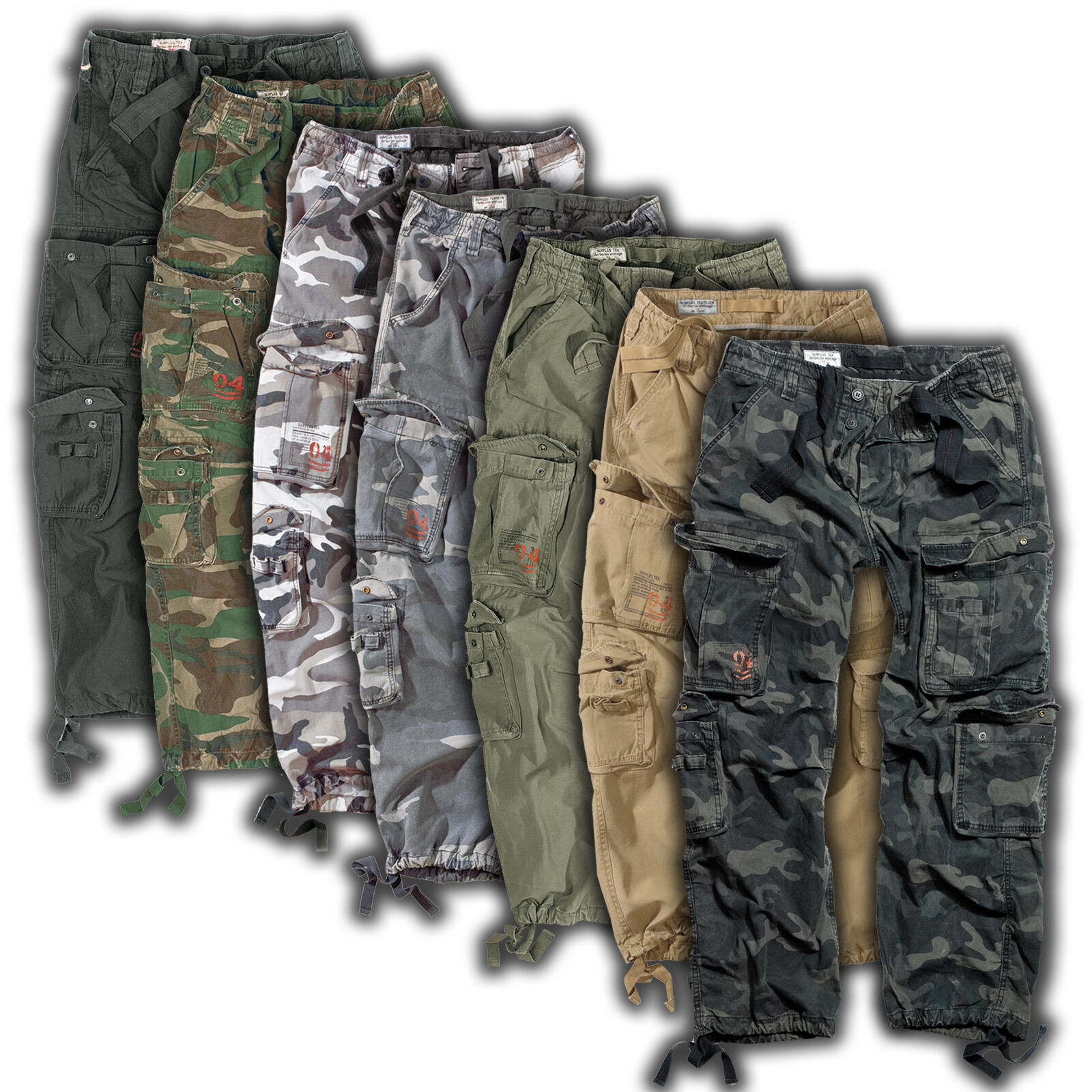 Surplus Cargo Trousers Airborne Vintage Us Army Pants Outdoor Leisure Bw