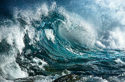 Picture Poster Art Ocean Waves Beach Scenic Wicked Storm at Sea Framed Print