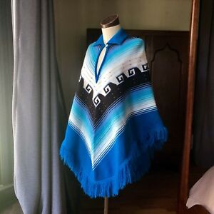 Vintage-1960-039-s-Hippie-Boho-Poncho-Fringe-Southwest-Blue-Festival-Chevron