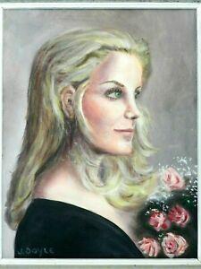 """M JANE DOYLE SIGNED ORIGINAL ART OIL/CANVAS PAINTING """"MELINDA"""" (PORTRAIT)FRAMED"""