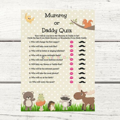 Baby Shower Game Mummy or Daddy Quiz Woodland Animals Design 20 Players