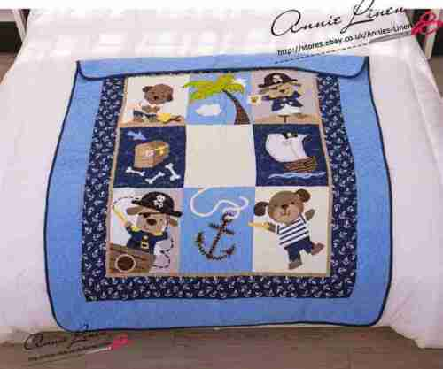 Azul Marino Perro Cachorro Marinero Pirata Niño Cuna//Sofá//Manta//Manta Colcha Silla