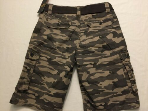 NWT Lee Men/'s Wyoming Camouflage Gray Kh Belted Shorts Cargo Cell Pocket Shorts