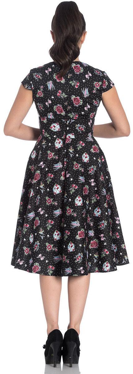 Hell Bunny Bunny Bunny Stevie Oldschool Tatuaggio Polka Dots Swing Dress Abito Rockabilly 3ac060