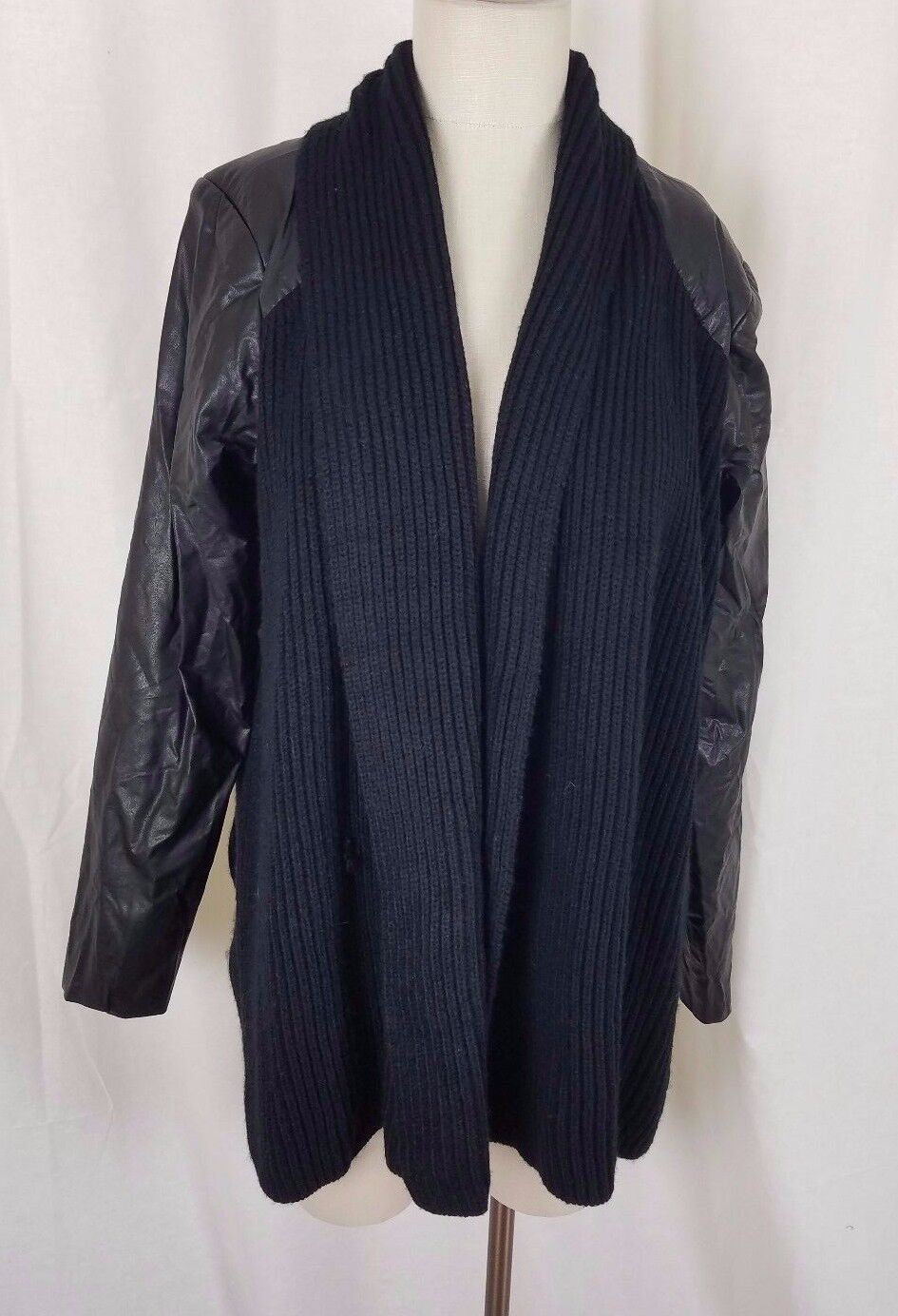 Nurture Open Front Aszimmetrikus Kötött Vegán Faux Bőr Pulóver Jacket Womens L