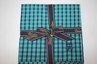 Brooks Brothers Men's Navy Green Stripe/check 100% Cotton Pocket Square