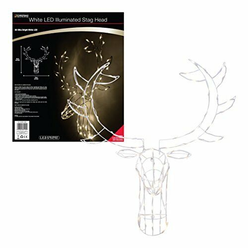 Christmas Workshop Battery Operated Bright White LED Large Stag Deer head Frame,