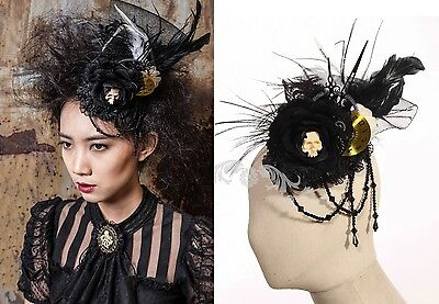RQ-BL Fascinator Hut Perlen Rose Steampunk Uhr Victorian Gothic Headpiece SP077