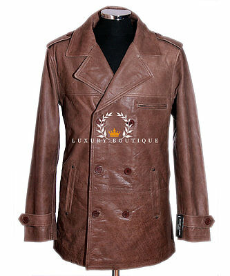 Harrison Men's Vintage Brown Casual Double Breasted Real Cowhide Leather Jacket