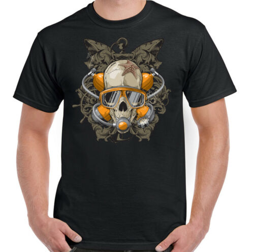 Scuba Diving T-Shirt Skull Mens Funny Dive Diver Mask Top Deep Sea Equipment