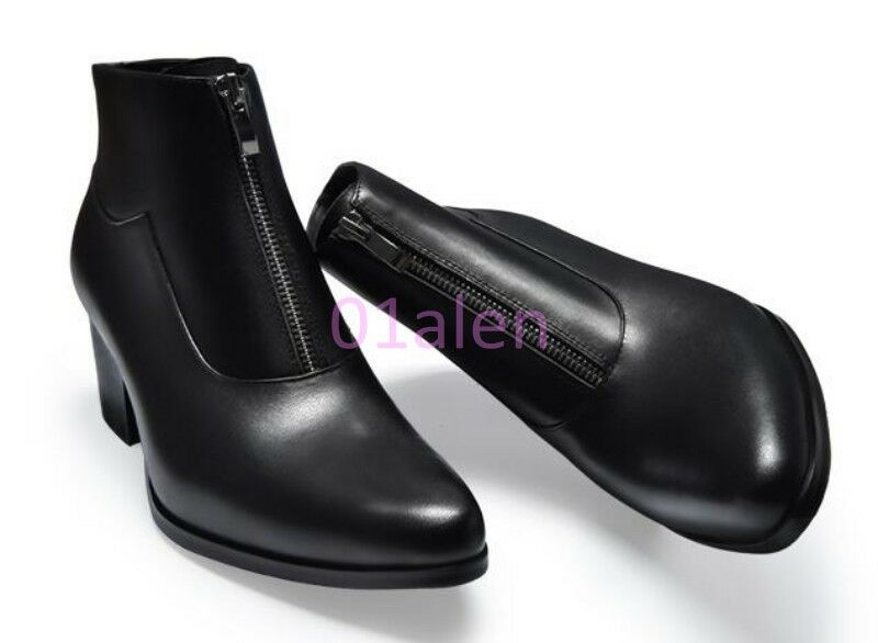 Mens High Top Front Zipper Pointy Toe Ankle Boots British Style Leather Mid Heel