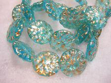 10 14mm Czech Glass Aqua Gold wash Dahlia Flower Coin Beads