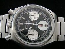 VTG RARE CITIZEN BULLHEAD 8110BLACK PANDA OCTAGON CHRONOGRAPH.PERFECT DIAL70s