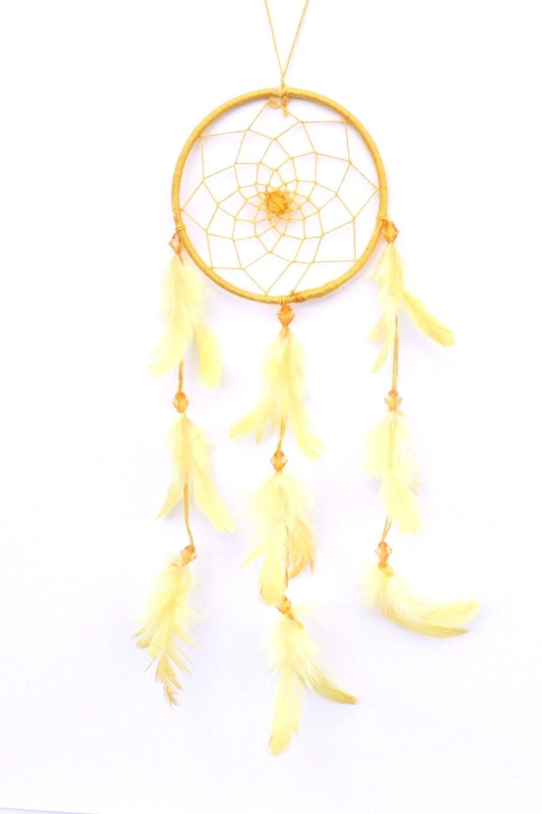 YELLOW DREAM CATCHER HANDMADE W/ STRING & FEATHER CAR OR WALL DECOR ...