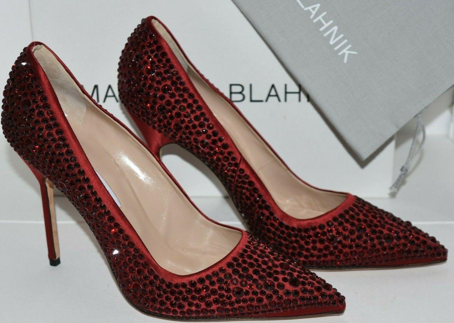 Neu Manolo Blahnik Bb Siam 105 Rot Satin Ferse Jeweled Kristall Pumps 40.5