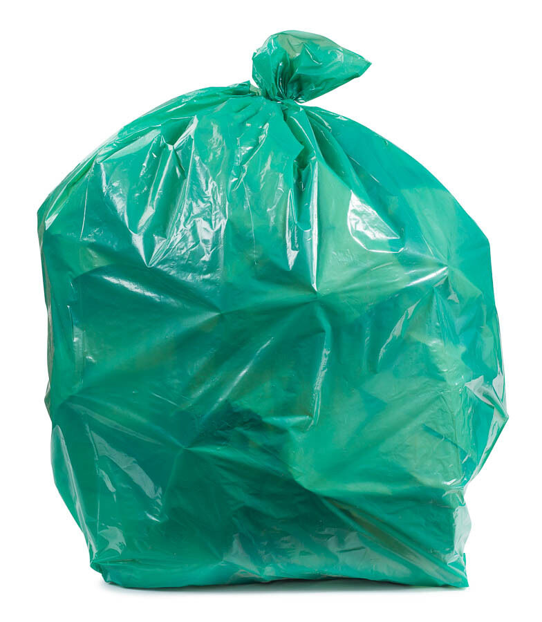 Plasticplace 20-30 Gallon Trash Bags - Green, case of 200 bags