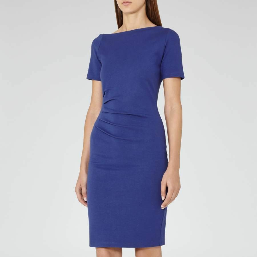 Reiss Milla bluee bluee bluee Sapphire Jersey Pencil Body Contouring Occasion Dress 50dd03