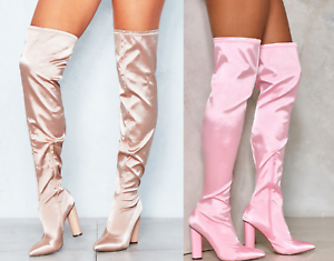 Womens Ladies Satin Thigh High Over The Knee Boots Block Heel Shoes Pull Up UK