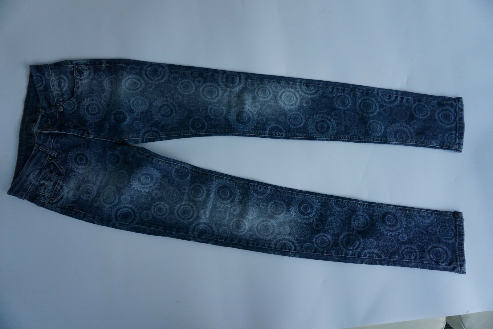 DESIGUAL Damen stretch Jeans Hose slim skinny 24 34 W24 L34 blau gemustert  17k