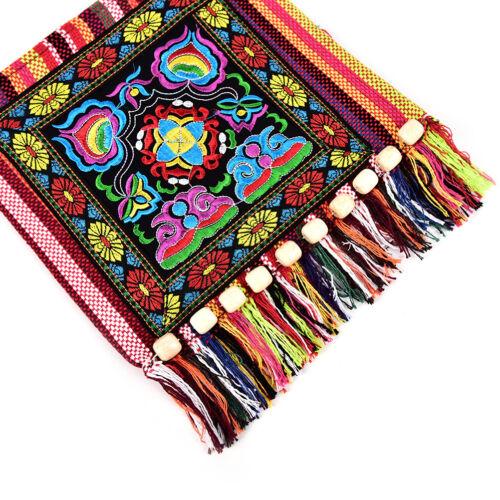 Vintage Canvas Ethnic Shoulder Bag Embroidery Hippie Tassel Tote Messenger Ba fh