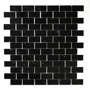 Mosaik Fliese Quarz Komposit Kunststein Brick schwarz |46-0304_f ...