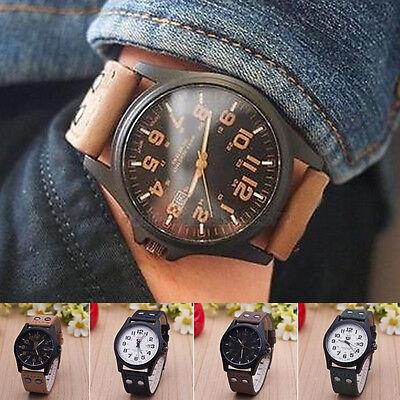 Sport Cool Military Design Leather Band Watches Men's Vogue Quartz Wrist Watch