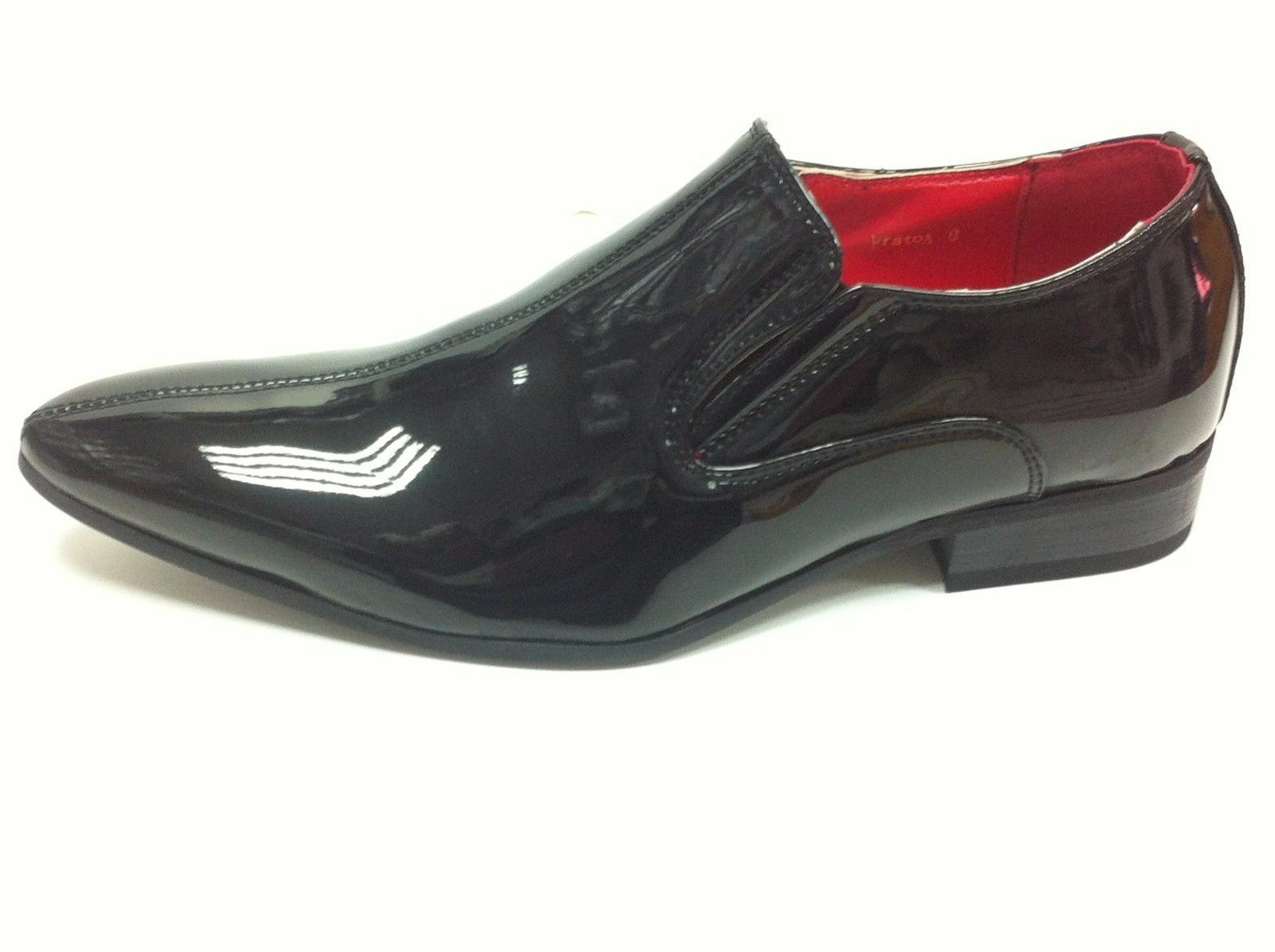 MENS BROGUE PATENT GANGSTER POINTED LEATHER JAZZ SPAT SHOES SIZES 7-11 Black