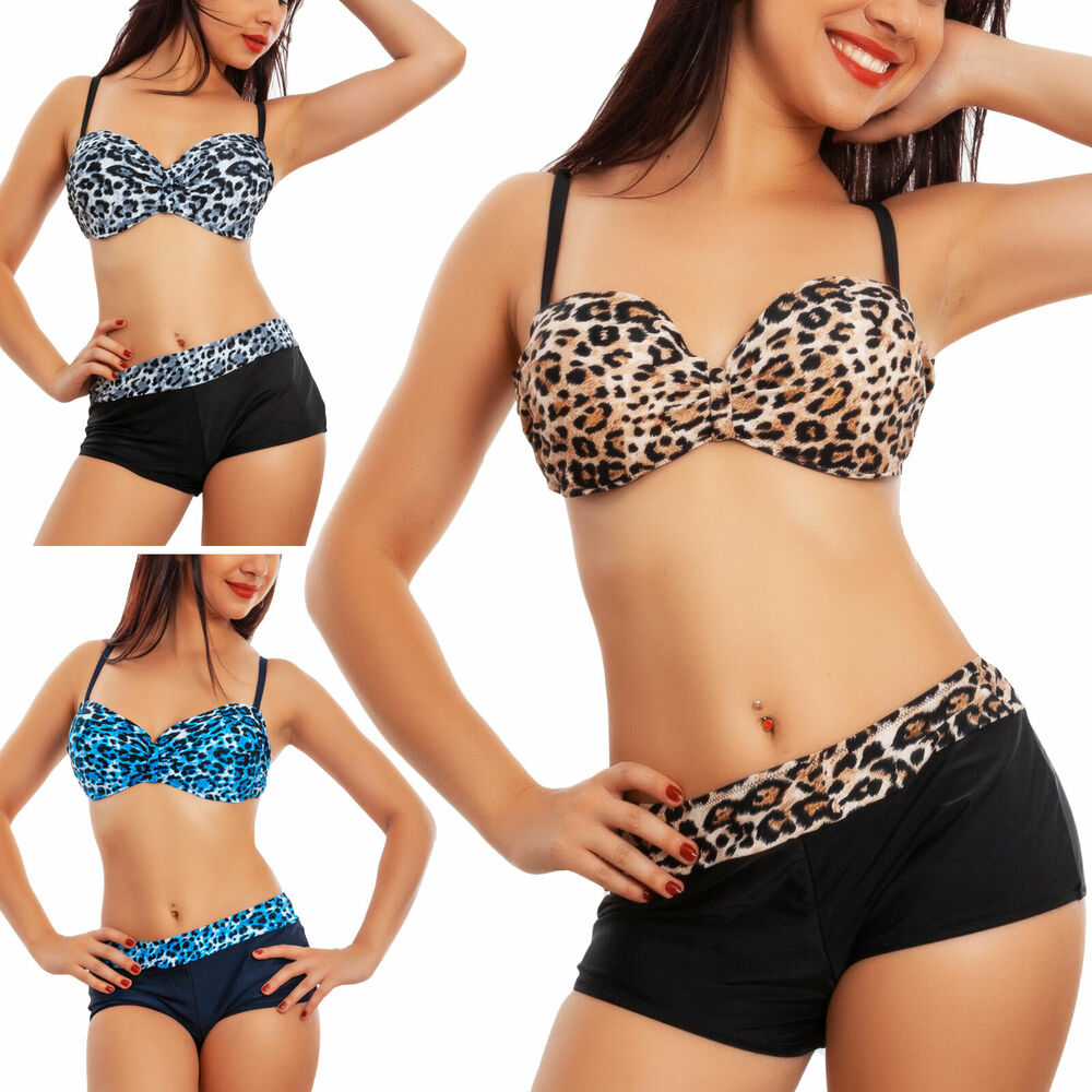 Bikini Donna Costume Due Pezzi Leopardato Curvy Leopardato Leo Toocool B1938
