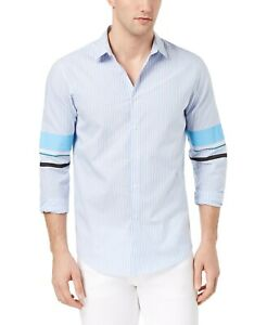 INC-Blue-Mens-US-Size-Small-S-Stripe-Print-Track-Sleeve-Button-Up-Shirt-65-106