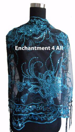 Elegant Oblong Lace Floral Art Scarf Wrap w// Sequin Black//Blue