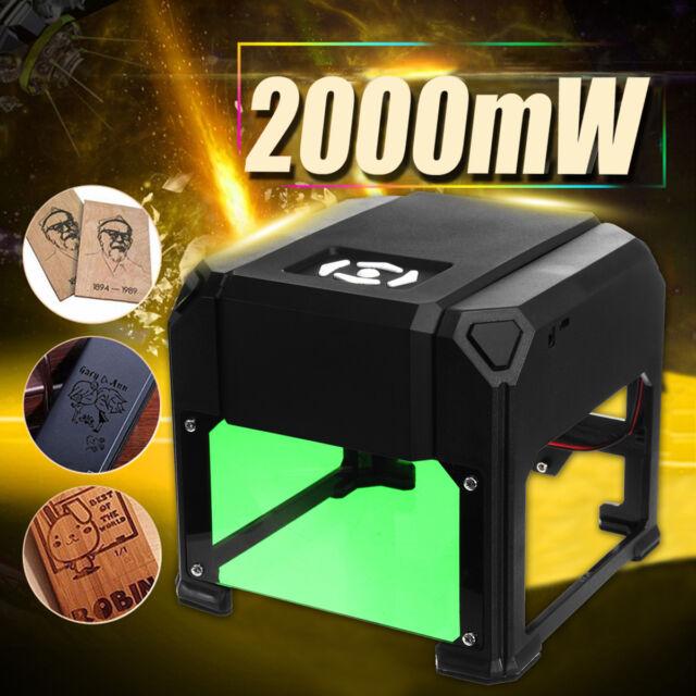 2000mW Desktop Laser Engraving Machine Logo Marking Engraver Cutter Printer DIY