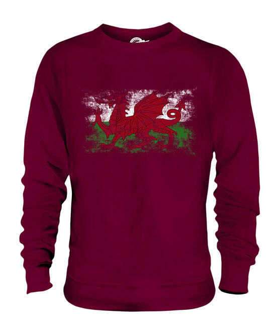 WALES DISTRESSED FLAG UNISEX SWEATER TOP WELSH FOOTBALL GIFT SHIRT JERSEY