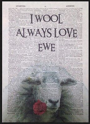 Sheep In a Fur Coat Dictionary Wall Picture Art Print Vintage Animal In Clothes