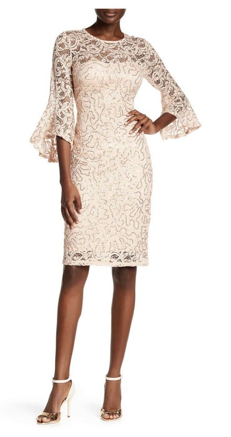 NWT MARINA Sequin Lace Bell Sleeve Dress Peach 16