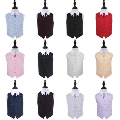 Mens Boys Wedding Waistcoat /& Cravat Woven Swirl FREE Pocket Square by DQT