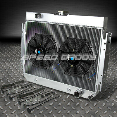 2-ROW FULL ALUMINUM RACING RADIATOR+2 RED FAN 63-68 CHEVY IMPALA//BISCAYNE l6//V8