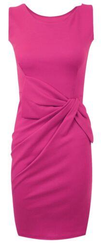New Ladies Plus Size Sleeveless Ponte Side Bow Dress 8-22