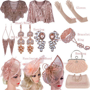 Rose-Gold-Party-Dress-Accessories-Evening-Gown-Earring-Shawl-Wrap-Womens-Handbag